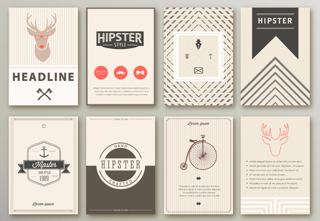 Set of brochures in hipster style