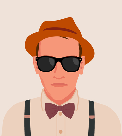 human face: hipster men illustration Illustration