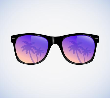sunglasses: Gafas de sol con la ilustración palmas reflexión vector Vectores