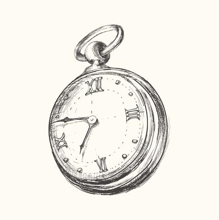 손으로 그린 빈티지 시계 시계 스케치 벡터 일러스트 레이 션