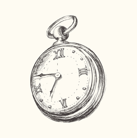 hand in pocket: Hand drawn vintage watch clock sketch vector illustration Illustration