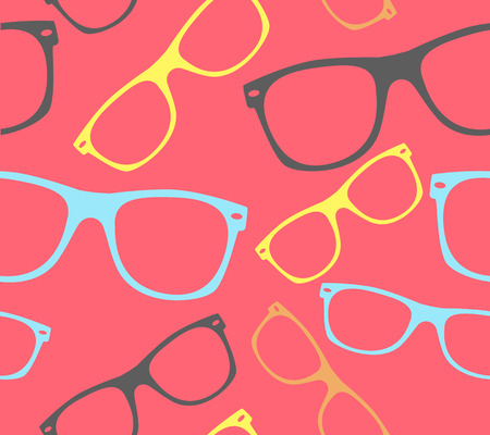 retro glasses: glasses seamless pattern retro hipster sunglasses. vector abstract background