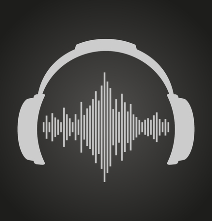 headphones icon with sound waves. Vector flat illustration Vettoriali