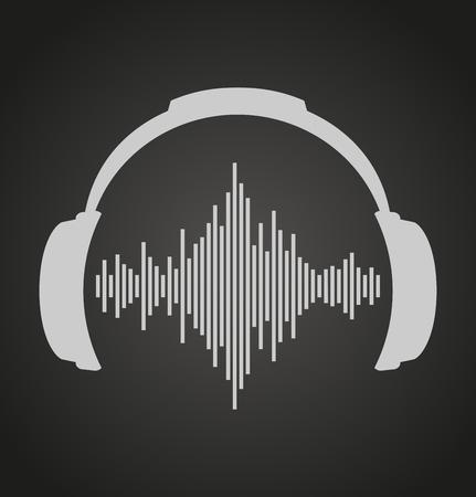 auriculares: icono de auriculares con ondas de sonido. Vector ilustración plana