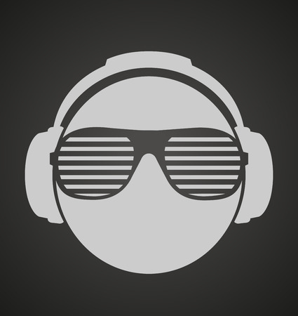 sunglasses: icon men dj in headphone and shutter shades sunglasses. vector print illustration Illustration