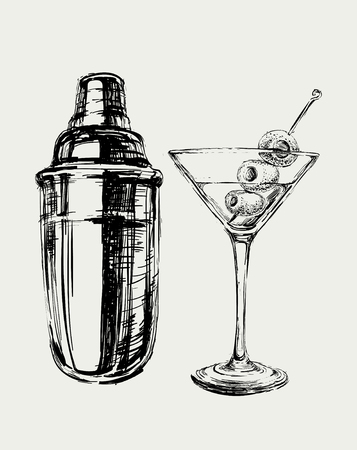 Sketch Martini Cocktails with Olives and Shaker Vector Hand Drawn Illustration Vettoriali