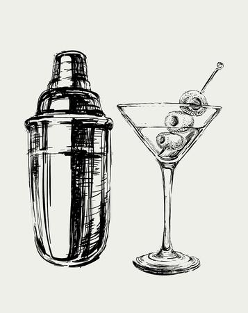 Szkic Martini koktajl z oliwek i Shaker Wektor ręcznie rysowane ilustracji