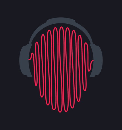 headphones icon with sound waves vector flat template