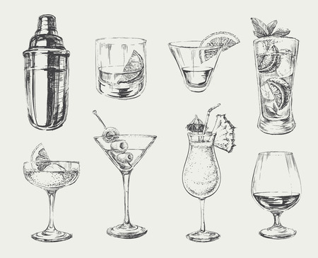 cold drinks: Set of sketch cocktails and alcohol drinks