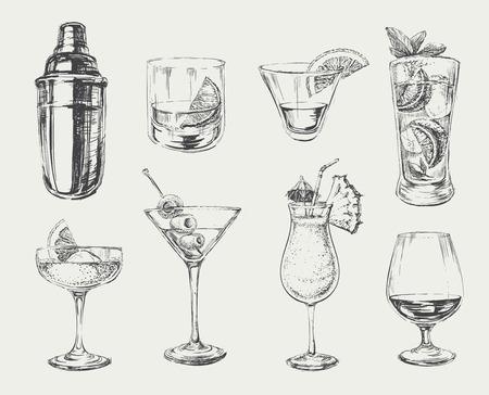 Zestaw szkicu koktajli i napojów alkoholowych