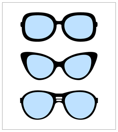 ray ban: set of sunglasses vector illustration background
