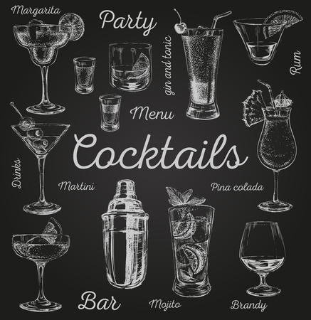 Conjunto de cocteles de dibujo e ilustración dibujada bebidas alcohólicas vector de la mano Conjunto de cocteles de dibujo e ilustración de bebidas alcohólicas vector dibujado a mano