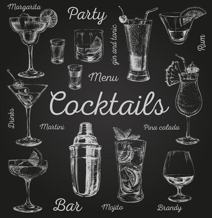 Set Skizze Cocktails und alkoholische Getränke Vektor Hand gezeichnet Abbildung Satz von Skizze Cocktails und alkoholische Getränke Vektor Hand gezeichnete Illustration