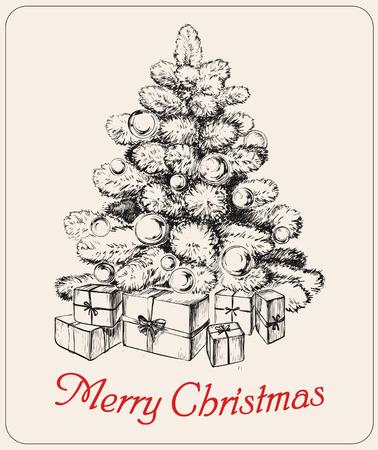 gift season: Hand drawn christmas tree vector christmas tree vector Hand drawn christmas tree vector christmas tree vector
