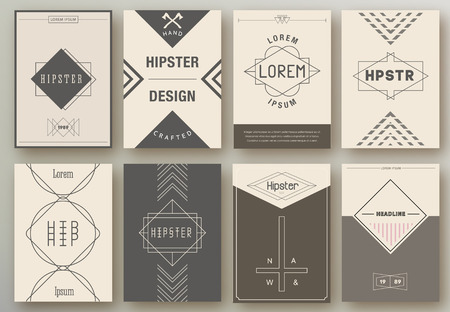Set of brochures in hipster style Set of brochures in hipster style