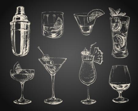cocteles de frutas: Conjunto de cócteles de croquis y alcohol bebe fondo negro