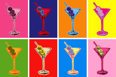 style: Set of Colored Martini Cocktails with Olives Vector Illustration Set of Colored Martini Cocktails with Olives Vector Illustration