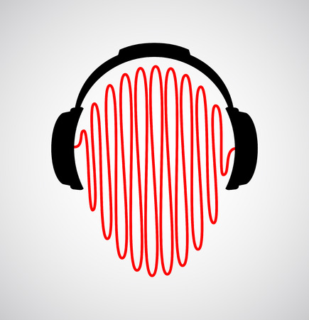 headset voice: headphones icon with sound waves vector flat template