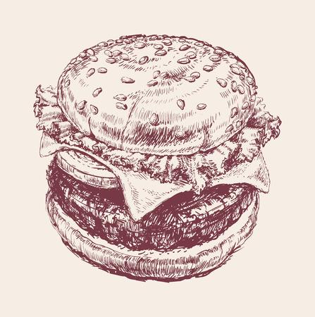 american food: Hand Drawn Illustration of Hamburger Hand Drawn Illustration of Hamburger