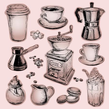 Coffee illustration Drawn Set Coffee illustration