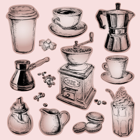 dessert: Coffee illustration Drawn Set Coffee illustration