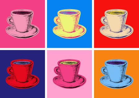 커피 잔 그림 팝 아트 스타일의 집합