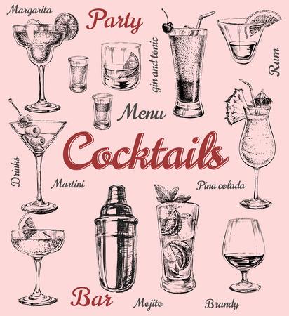 coquetel: Conjunto de cocktails e bebidas alcoólicas esboço ilustração Ilustração