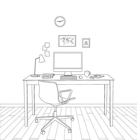 modern interior: sketch modern office interior