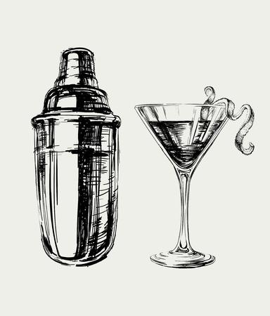 margarita cóctel: Bosquejo Cocteles cosmopolitas y Shaker Vectores