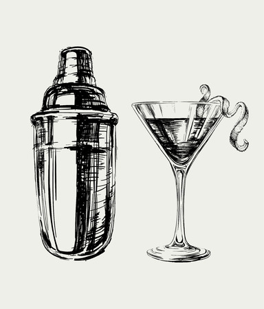 Sketch Cosmopolitan Cocktails and Shaker Illustration