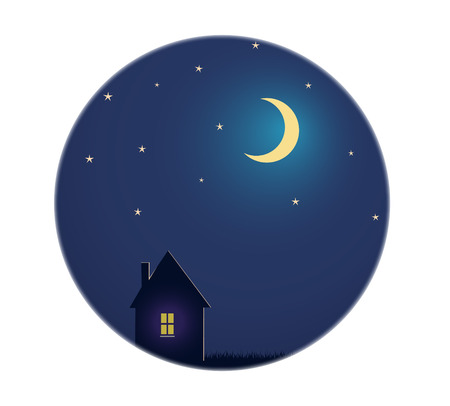 night sky stars: House and night sky with stars and moon House and night sky with stars and moon. vector illustration Illustration