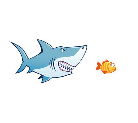 tiny: shark attack tiny fish  illustration