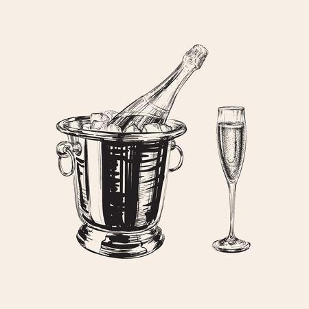 Bouteille de champagne et de la main en verre vecteur de dessin illustration Banque d'images - 54576546