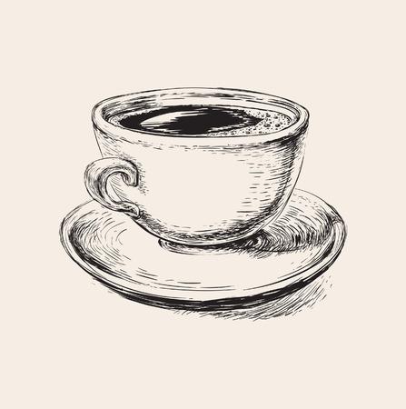 스케치 커피 잔 그림의 스케치 커피 컵 그림