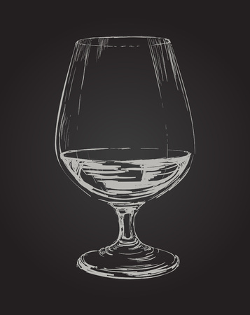 brandy: Glass of Brandy Drawing Illustration Illustration