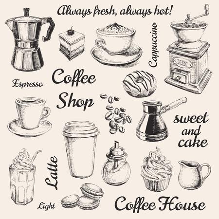 손으로 그린 세트 커피 그림 손으로 그린 세트 커피 그림