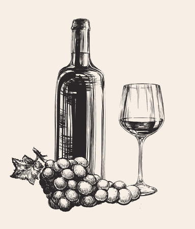 Grapes, Wine Glass, Wine Bottle, Hand Drawn Illustration Vettoriali