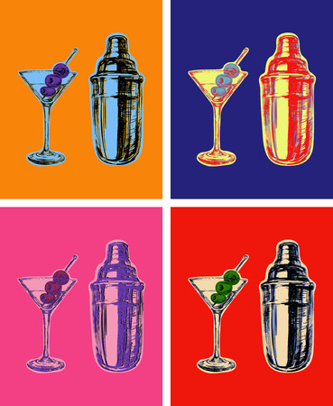 vermouth: Set of Colored Martini Cocktails with Olives and Shaker Illustration Illustration