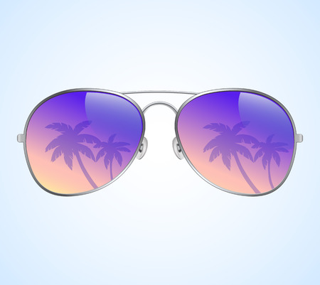 sunglasses reflection: Aviator Sunglasses with Palms Reflection Illustration Background