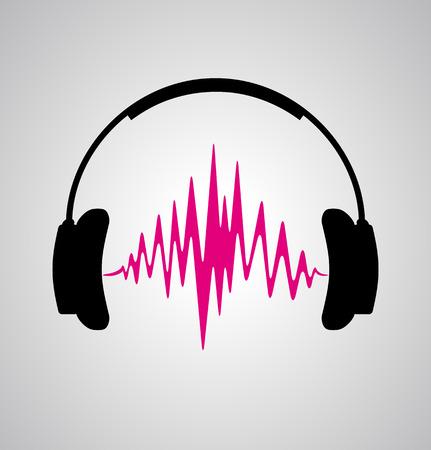 headphone: headphones icon with sound wave beats flat illustration Illustration