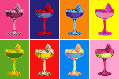 Set of Colored Cocktails Vector Illustration  イラスト・ベクター素材