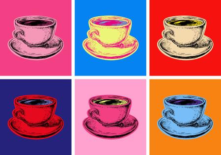 설정 커피 잔 벡터 일러스트 팝 아트 스타일 일러스트