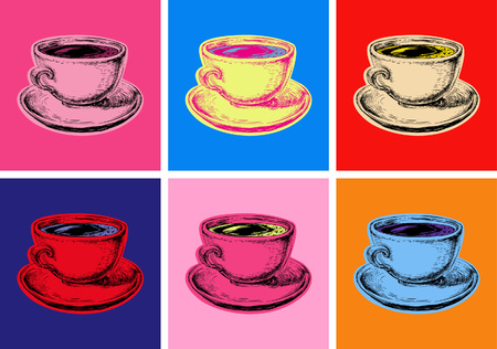 Conjunto de la ilustración del vector taza de café estilo del arte pop