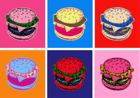 Set Burger Vector Illustration Pop Art Style Stock Photo