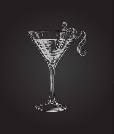cosmopolitan: Hand Drawn Sketch Cosmopolitan Cocktail Drinks Illustration