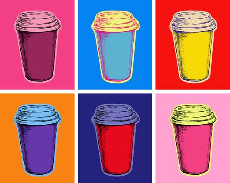 설정 커피 컵 벡터 일러스트 팝 아트 스타일 일러스트