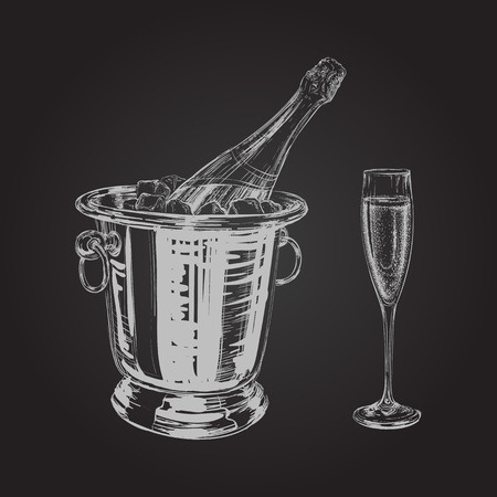 champaign: champagne bottle and glass hand drawing vector illustration