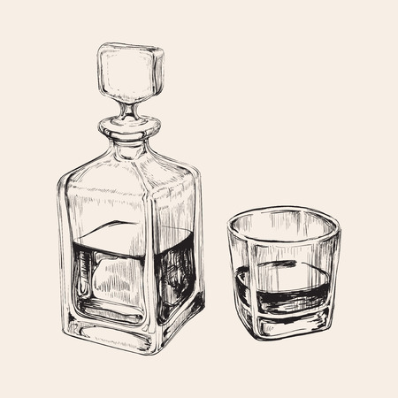 Schets Whiskey fles en glas. Hand Getrokken Drink Vector Illustration Stock Illustratie