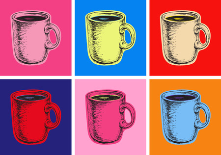 Set Coffee Mug Illustration Pop Art Style
