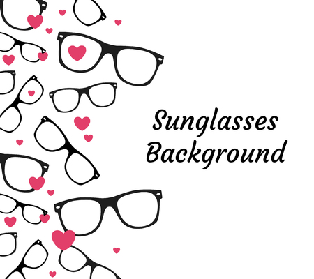 eyeglass: sunglasses and hearts background